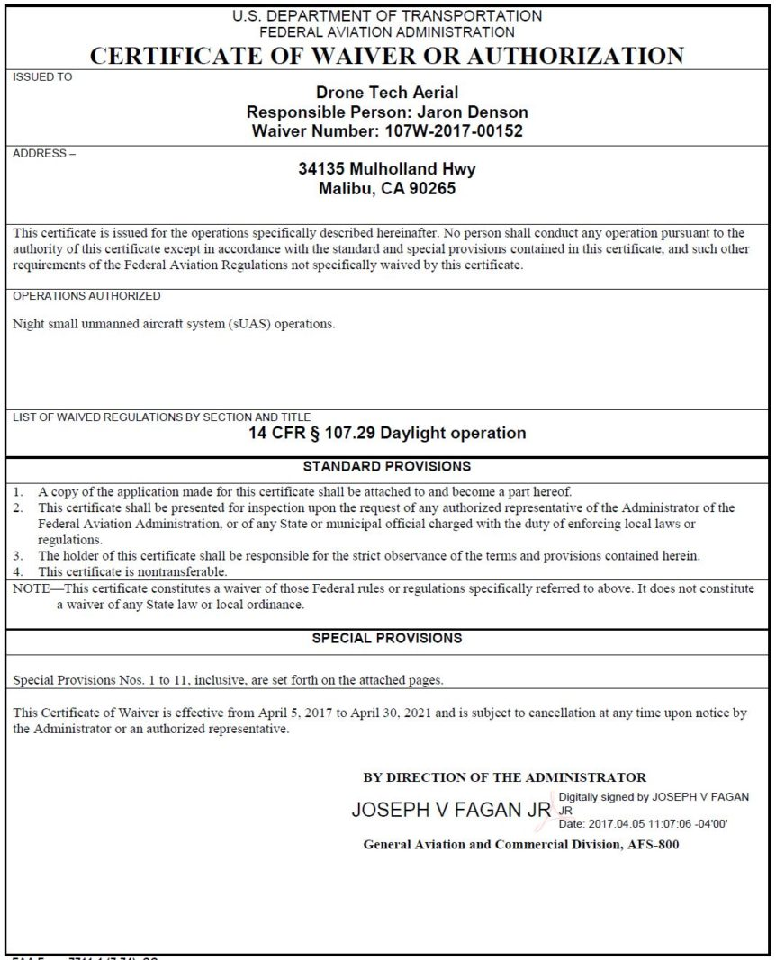 We Have The FAA Part 107 Night Waiver For Our Part 107